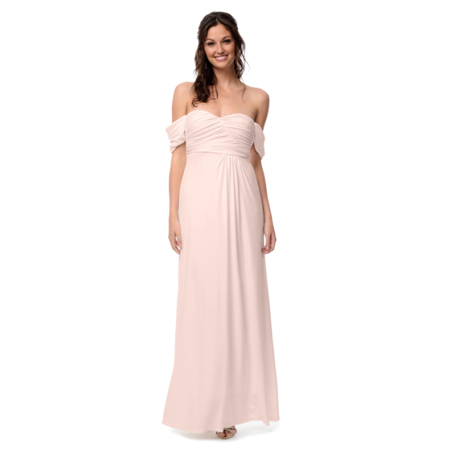 Off the Shoulder Short Sleeves Pearl Pink Bridesmaid Dresses Long ...
