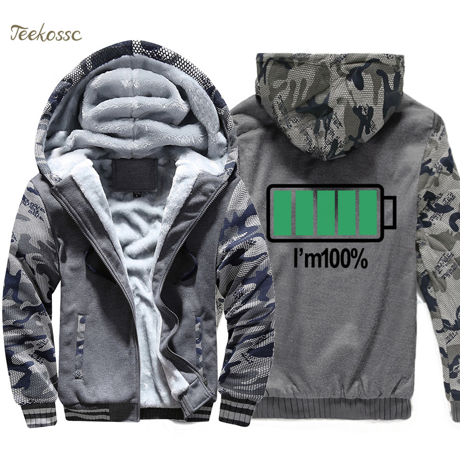 Unique Battery I Am 100% Hoodie Men Funny Prined Hooded Sweatshirt Coat Winter New Brand Warm Fleece Thick High Quality Jacket
