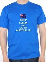 Erstellen Custom T-shirts Comfort Soft Halten Sie Ruhe Und Gehen Australien Australian Rundhalsausschnitt Kurzhülse Herren Hemd