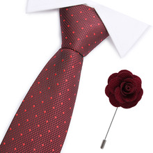 2pcs Casual Cotton Ties And broochSet Floral Slim For Men 7.5cm wine red Necktie Gray Skinny Printed Neck