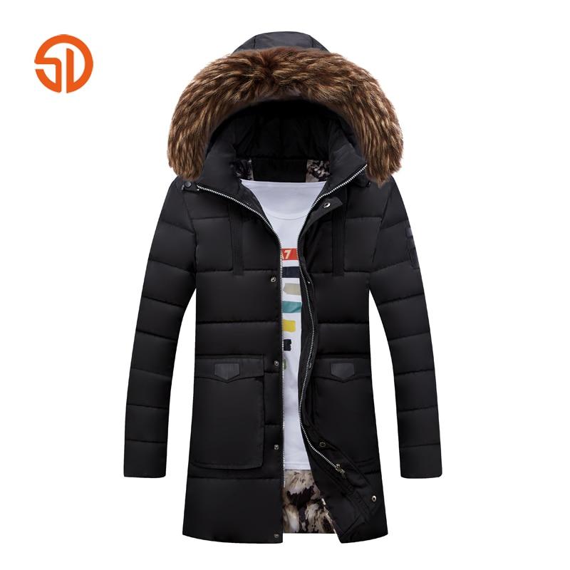 Long Coats Mens Autumn Winter Jackets Plus Size XXXXL Male Parka Jacket Casual Thick Hooded Jacket M-4XL Black Red Khaki Green