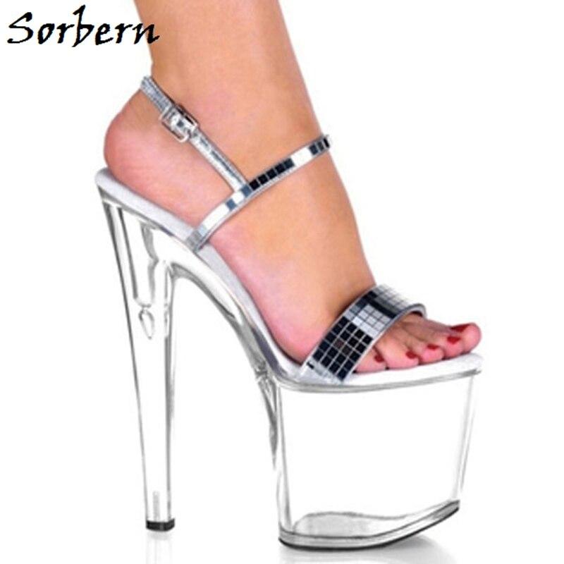 Elegante freier Kitten Spitze Sorbern Transparente 10 Sandalen Designer Raum Plattform Heels Offene Größe Frauen Schuhe Schwarzes Farbe Sohle Für Nach d4qwwfAx