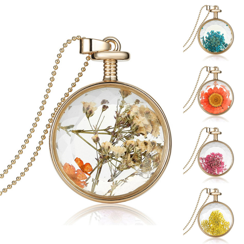 LIEBE ENGEL Dried Flowers Glass Necklace 1