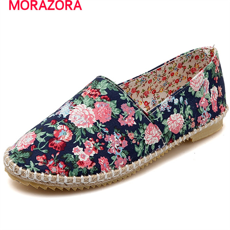 MORAZORA Printing shoes woman large size 34-43 single shoes fashion  four seasons shoes women flats canvas vintage embroidery women flats chinese floral canvas embroidered shoes national old beijing cloth single dance soft flats