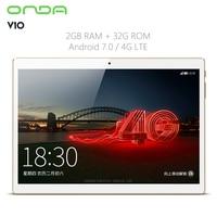 Original Onda V10 4G Tablet 10.1 inch Android 7.0 Phablet MTK6753 Octa Core 1.3GHz 2GB RAM 32GB eMMC IPS Screen GPS Bluetooth