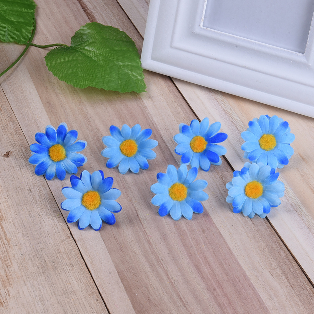 100pc/bag 9 Bright Colored Artificial Gerbera Daisy Heads Silk ...
