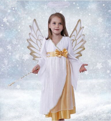 white angel costume for girls white princess dress ancient Greece dress for girls halloween costumes for children