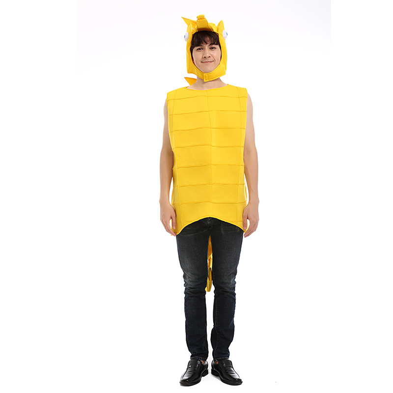Adult Yellow Sea Horse Cosplay Costume Men and Women's Marine Animal Halloween Party Costume
