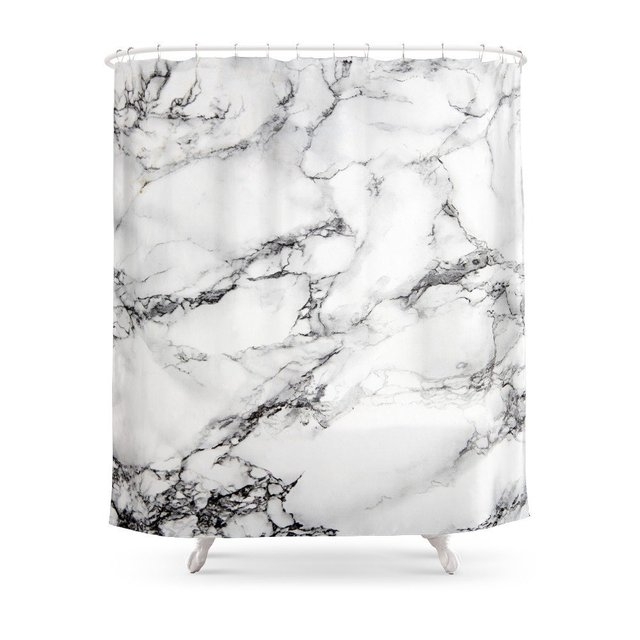 Greyish White Marble Shower Curtain Polyester Fabric Bathroom Home Decoration Waterproof Print Curtains With Hooks