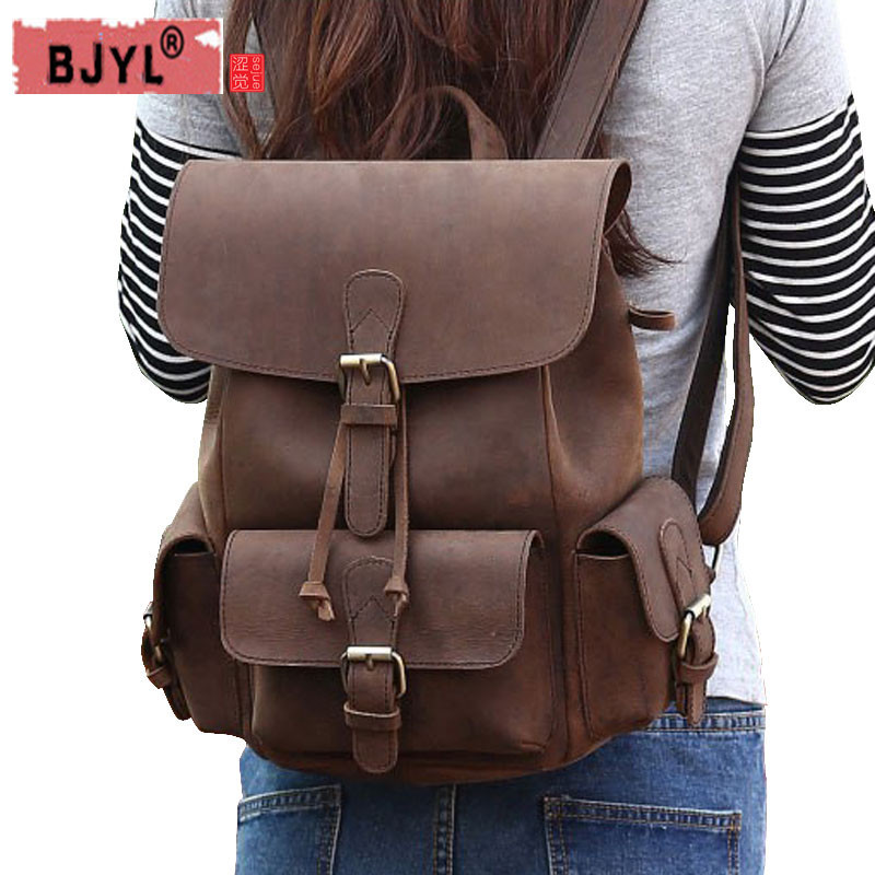 BJYL 2018 new Crazy Horse Leather Women backpacks retro leisure female shoulder Bag full leather ladies school BackpackBJYL 2018 new Crazy Horse Leather Women backpacks retro leisure female shoulder Bag full leather ladies school Backpack