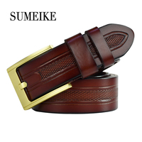 Waist Belt Men Luxury Male Genuine Leather Belt Strap Wide Gold Color Pin Buckle Cowhide Belts