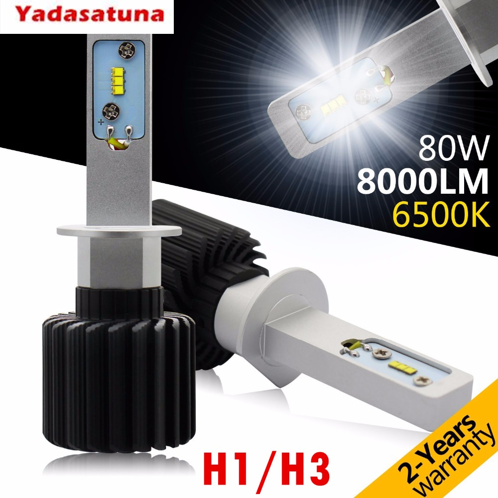 One Set!<font><b>H1</b></font> H3 <font><b>LED</b></font> Headlight Bulbs,Rigidhorse Conversion Kit With Perfect Beam Pattern,80W 8000LM 6500K Cool White <font><b>CREE</b></font> Chips <font><b>LED</b></font> image