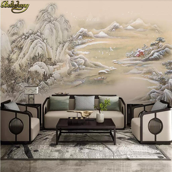 цена на beibehang Custom Photo Wallpaper Ink Mountain Landscape Mural Living Room Sofa TV Bedroom Backdrop Wall paper Papel De Parede 3D
