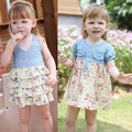 New Baby flower girl dresses denim racerback dress one-piece suspender princess dress free shipping