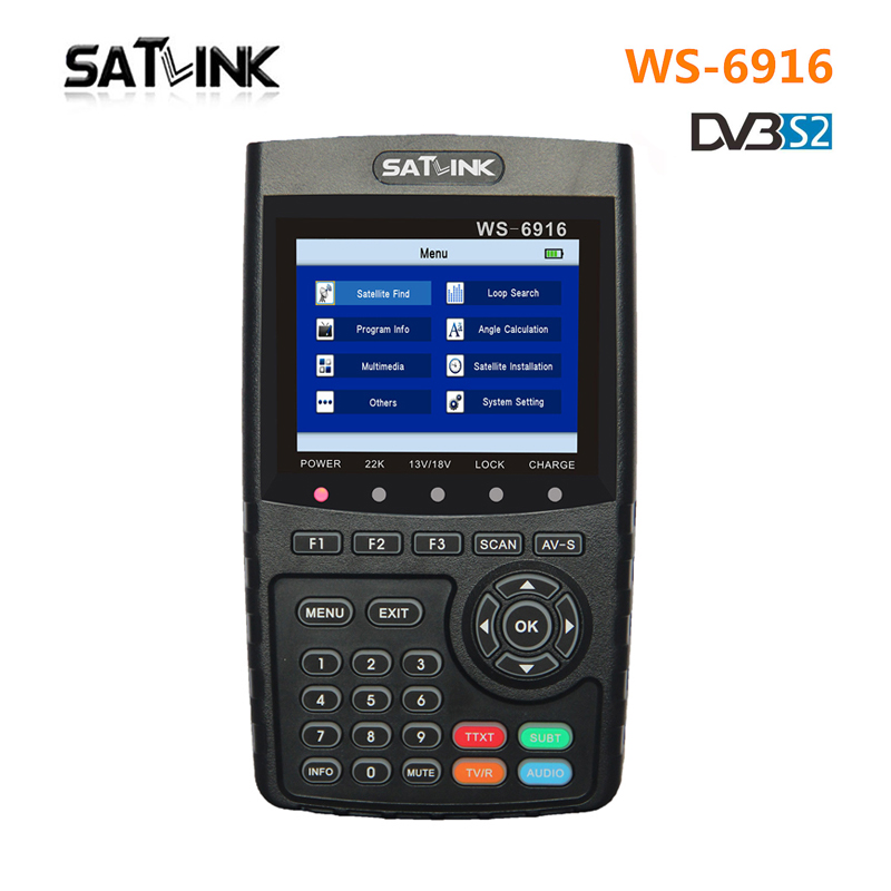 Satlink WS-6916 Satellite Finder DVB-S2 MPEG-2/MPEG-4 3.5 Inch High Definition Satellite meter TFT LCD Screen PK V8 Finder satlink ws 6922 rechargeable 3 5 color screen hd satellite finder w av usb black