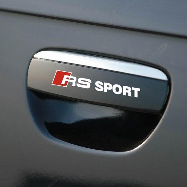 4 PCs RS Sport Vinyl Reflective Door Handle Car Sticker Auto Decal Black White for Audi A4L A4 A5 A6 A6L A7 A1 A3 Q5 Q7 Q3 TT