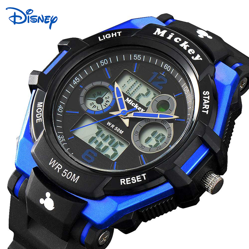 Disney Famous Brand Top Quality Kids Watches for Boys with Luminous Date 50M Water Resistant Digital