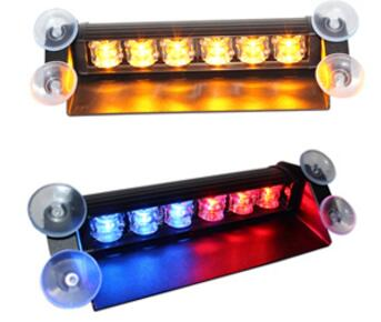 Higher star 6W Led car Windshield dash warning light, visor light,emergency lights,11flash,with cigarette lighter
