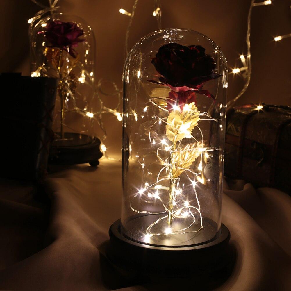 Светодиодный, Золотая Роза в стеклянном куполе, Красавица и чудовище, красная роза, декоративные цветы, венки на День святого Валентина, подарок, подарки на день матери