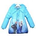 Модель 2015: зимняя утеплённая куртка-пальто с длинным рукавом и печатным рисунком на тему  «Снежной королевы», для девочек.