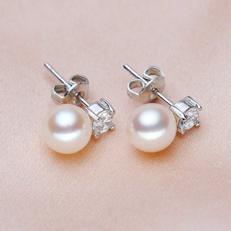 8d4d2227bdc US $47.8 |YANCEY JEWELRY Rounded full, shiny luster, the best quality 7 8MM  freshwater pearl earrings S925 silver, free shipping-in Earrings from ...