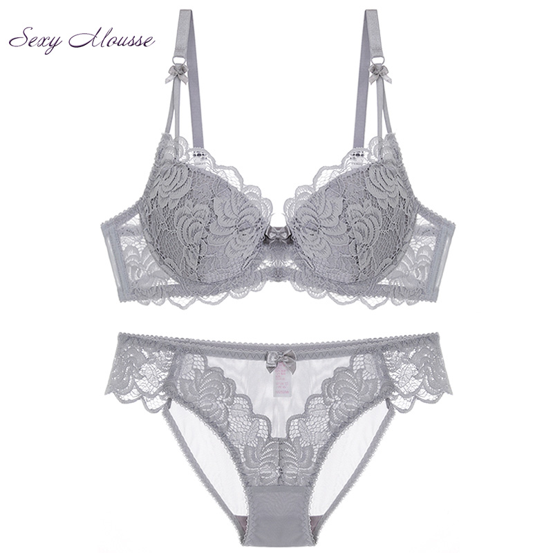 Sexy Mousse French Lace deep v Underwear Lingerie Summer New Women Thin Cotton stylish   Bra     Set   Gray Large   Bra