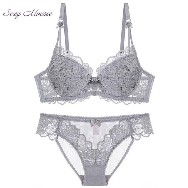 b11fecedf774 Sexy Mousse francés encaje deep v ropa interior Lencería verano nuevas  mujeres delgadas algodón elegante sujetador conjunto gris grande