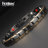 Hottime 4 In 1 Magnetic New Fashion Lovers Jewelry Steel Black Gold Titanium Bracelet For Women