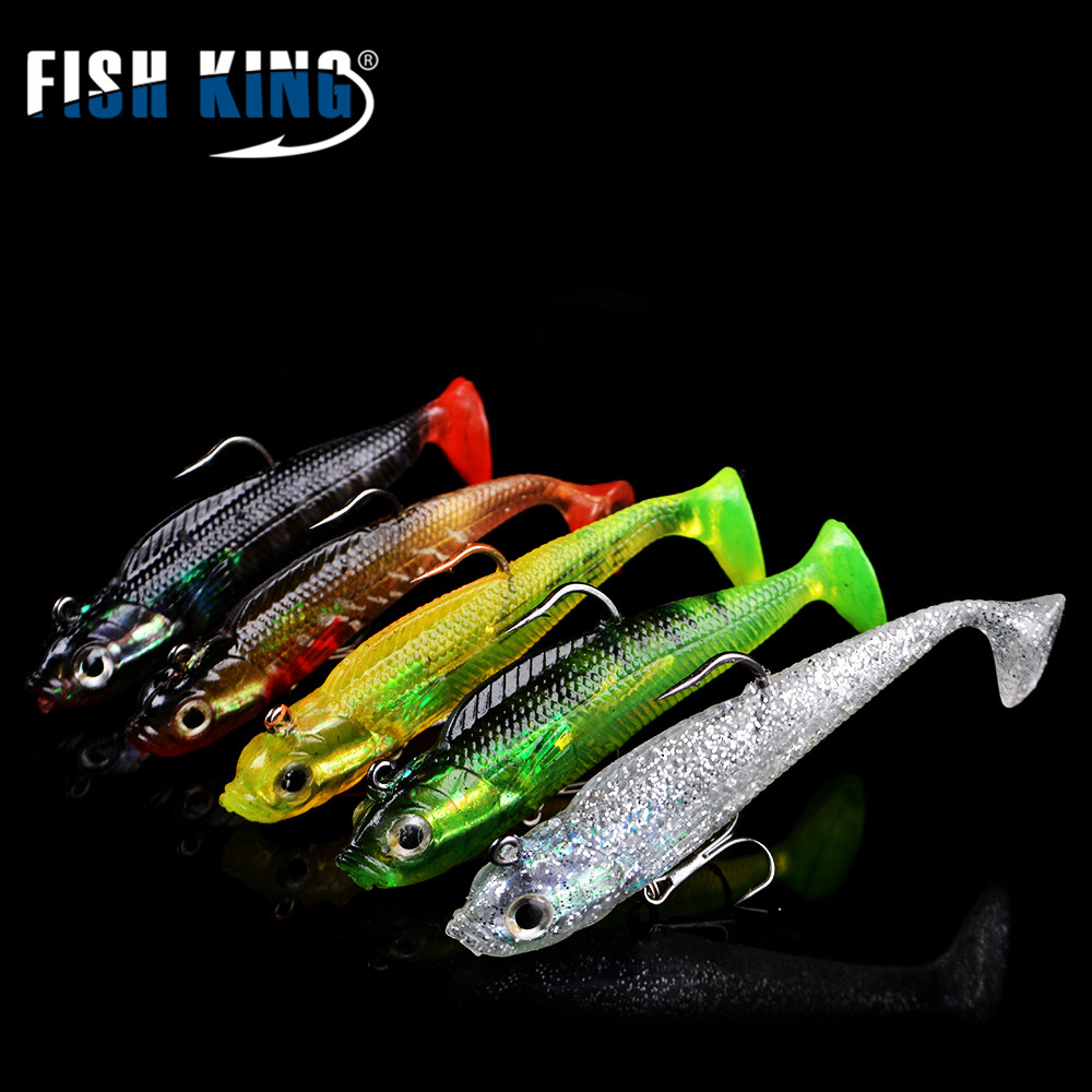 цена  FISH KING 5PC/Lot  10CM 22G Treble Hook Fishing Lures Soft Bait 3D Eyes Lead Head Bass Long Tail Baits Pesca Fishing Tackle  онлайн в 2017 году