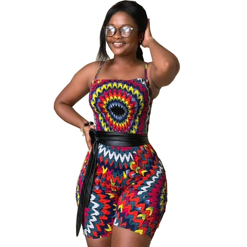 Indie Folk Style Woman Colorful Paisley Printed Fitting Knee-Length Jumpsuits Spaghetti Strap Sleeveless Playsuits DN8276X(China)