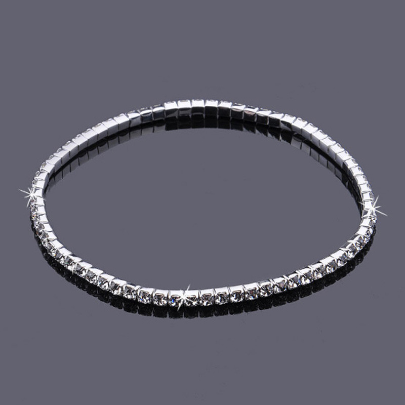 Crystal Rhinestone Anklets Silver Plated Stretch Bridal 1 Row Single Anklet AnkleBracelet Foot Chain Party Accessories for Women 4