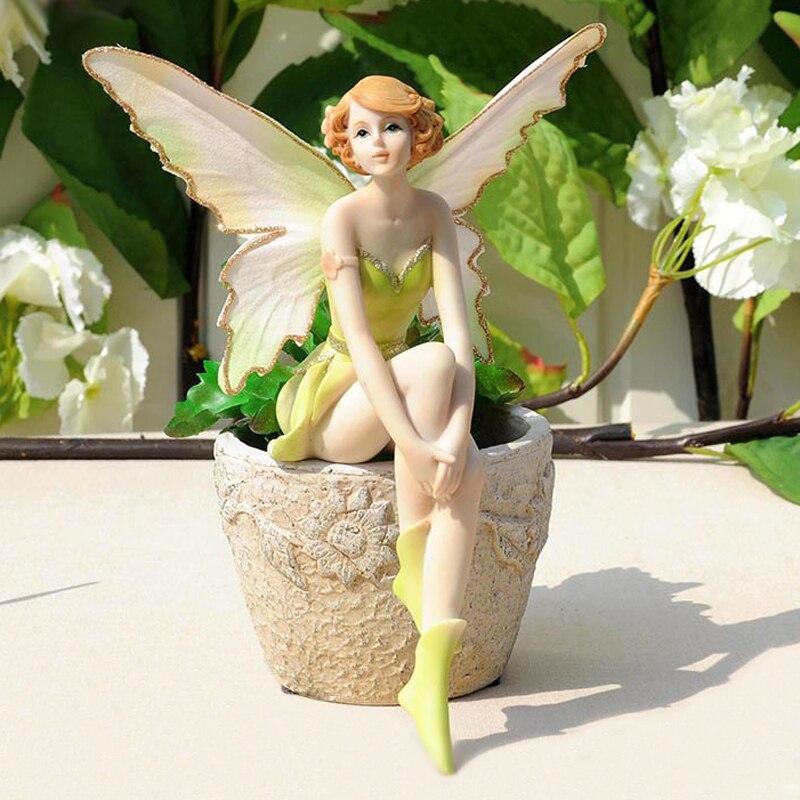 Q-glory Belle Fille Cadeaux Créatifs Résine Ange Ornements Décor À La Maison Miniature Fleur Fée Figurines De Mariage décoration