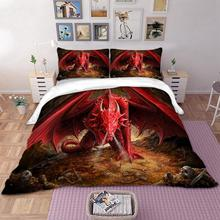 3D Red Dragon Bedding Set Duvet Cover twin queen king size Bedclothes 3pcs Home Textiles