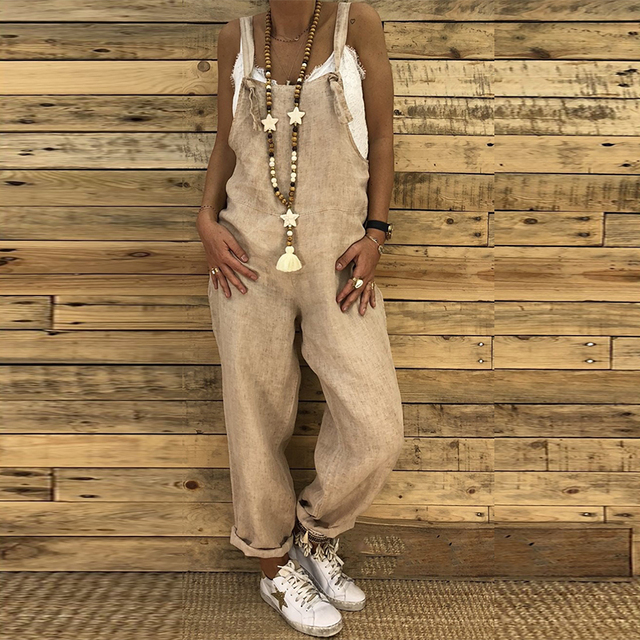 ed40399290f 2018 Women Rompers Summer Vintage Strppy Sleeveless Loose Overalls Backless Casual  Jumpsuits Cotton Linen Harem Pants