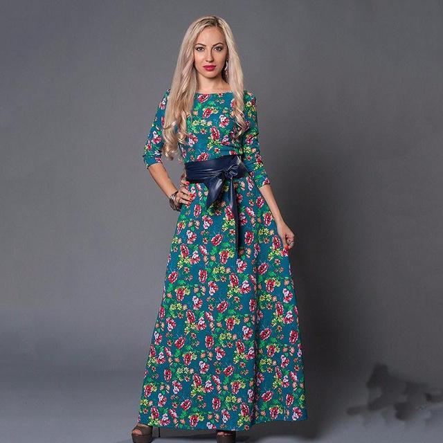 fbff5e7634fa Donne di marca Vestito lungo di vendita calda 2017 Primavera Estate Stile  Russo Stampa Abiti Lunghi