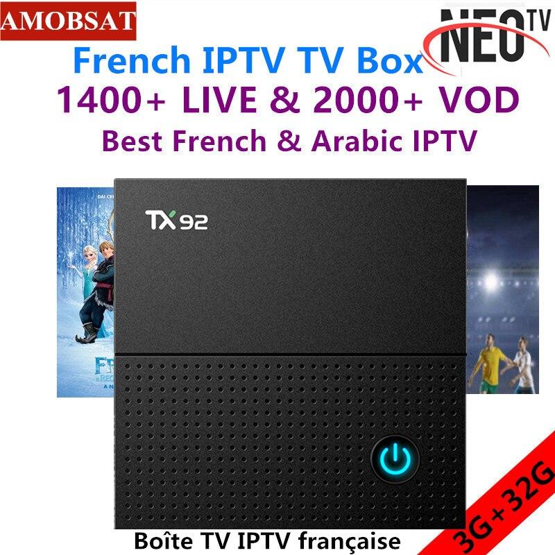 TX92 Android 7.1 Smart TV Box+1 Year NEO Pro French IPTV Subscription 3G RAM 32G ROM 2.4G/5GHz Dual WIFI 4K UHD BT KD TV Box