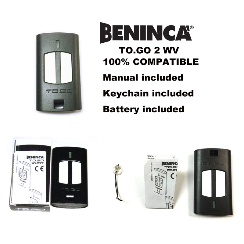 Beninca TO.GO 2WV Garage door compatible transmitter Beninca rolling code remote control Battery Included 12V 23A v2 replacement remote control transmitter 433mhz rolling code top quality