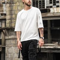 2017 New Summer T Shirt Men Tops Cotton Five Point Casual Men T Shirt Zipper Loose