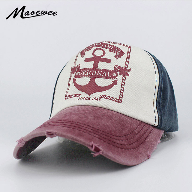 067a6c52e9f Recreation Washed Retro Baseball Cap Women Vintage Anchor Snapback Hat for  Men Casual Patch Dad Cap Summer Trucker Hat Bone 2018