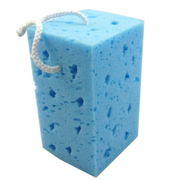 Hanging type Blue high quality car wash sponge, Porous seaweed polyester car cleaning appliances HQ-C1268