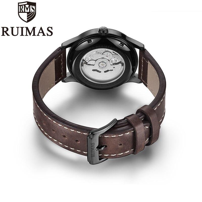 Ruimas автоматические механические часы мужские роскошные классические бизнес Miyota Лидирующий бренд светящиеся мужские часы в ретро стиле Relogio - 4