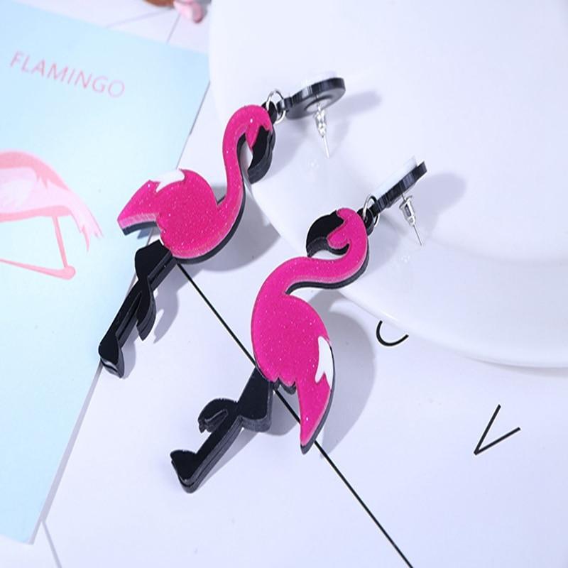 Cartoon Cute Flamingo Acrylic Earrings For Women Fashion Earring Jewelry Flamingo Animal Stud Earrings for Women Girl Gift