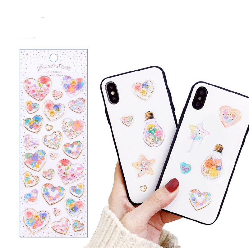 1 pcs Stationery Stickers Dream 3D Gold Epoxy Diary Planner Decorative Mobile Stickers Scrapbooking DIY Craft Stickers