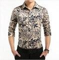 2016 новый плюс - размер M-5XL высокое качество мужские рубашки мода свободного покроя с длинным рукавом slim-подходят чистая цветок хлопка рубашка