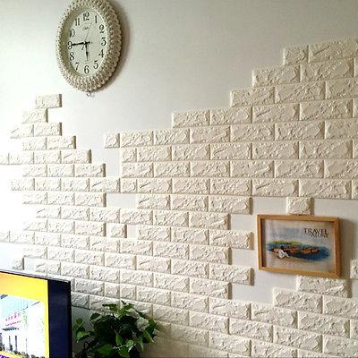 White 3d Bricks Self Adhesive Wall Sticker Soft Foam Panels
