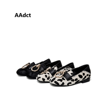 AAdct 2017 Fashion girls shoes Horsehair Genuine leather Metal ring decoration Autumn kids shoes