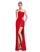 Красный Вечерние Платья Асимметричный Платье Халат де Вечер 2016 Новый Одно Плечо Вечерние Платья Высокого Щелевая Длинное Вечернее Платье 6275