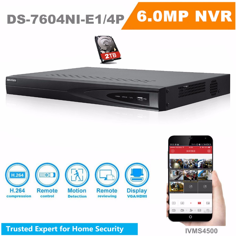 HIKVISON DS-7604NI-E1/4P CCTV System Onvif 4ch NVR 1SATA 4 POE ports HDMI and VGA Embedded Plug & Play NVR POE 2TB HDD Contained 16ch poe nvr 1080p 1 5u onvif poe network 16poe port recording hdmi vga p2p pc