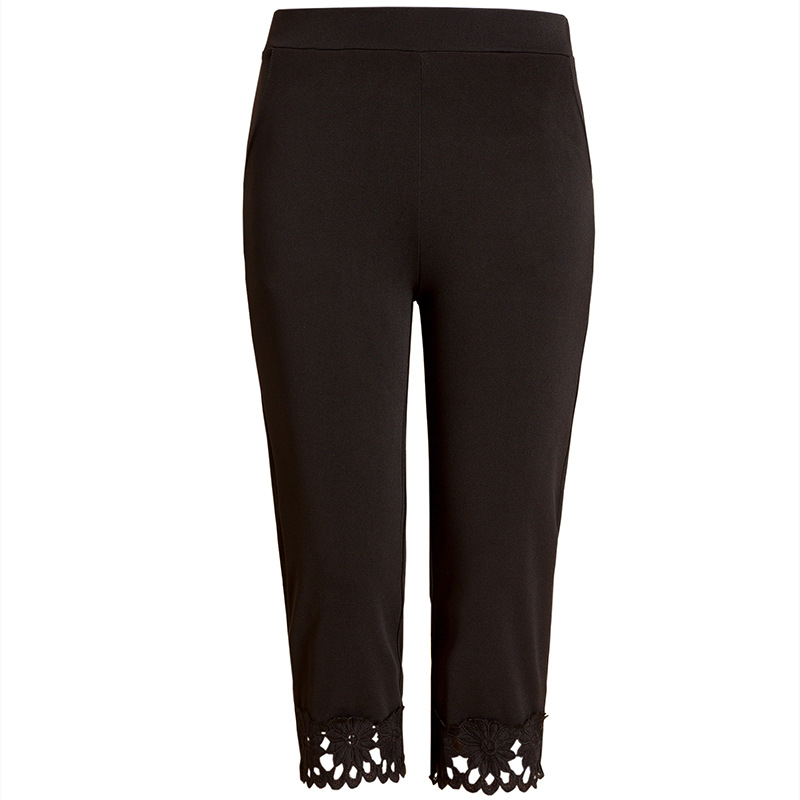 Summer Middle Aged Womens Pants Seven Midi Pants Slim Plus Size 5xl Trousers Thin Black White Khaki Lace Pockets Pencil Pants