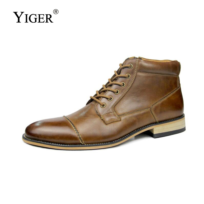 YIGER New Men Martins Genuine boots Leather Big Size high top Casual Shoes Male ankle boots